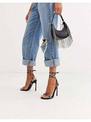 ASOS DESIGN number barely there heeled sandals with studs in reflective-black