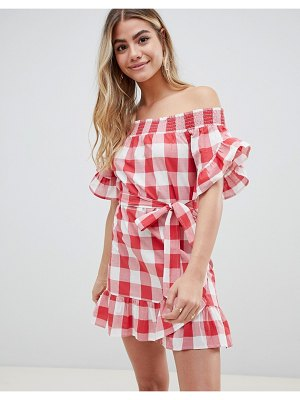 ASOS DESIGN off shoulder frill detail beach dress