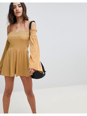 ASOS DESIGN off shoulder jersey romper with lace detail-yellow