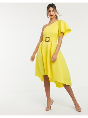 ASOS DESIGN one shoulder belted midiprom dress-yellow