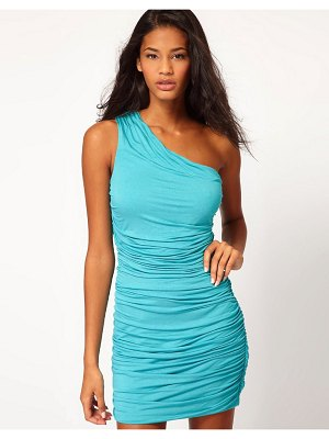 ASOS DESIGN one shoulder dress with ruched body