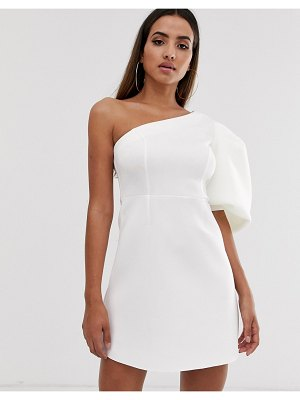 ASOS DESIGN one shoulder puff sleeve mini skater dress-white