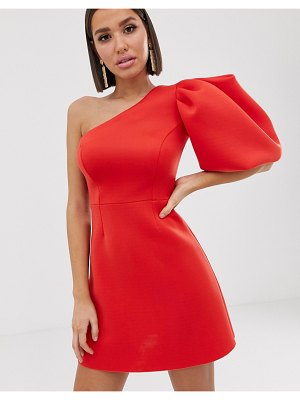 ASOS DESIGN one shoulder puff sleeve mini skater dress-red