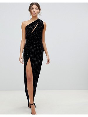 ASOS DESIGN one shoulder sparkle velvet maxi dress