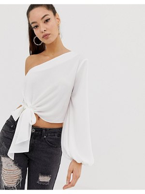 ASOS DESIGN one shoulder top with knot tie front