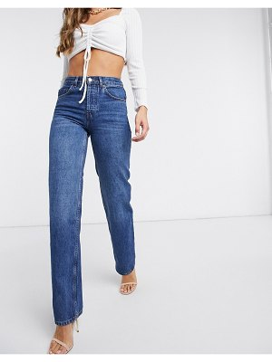 ASOS DESIGN organic mid rise '90's' straight leg jeans in rich 70's blue