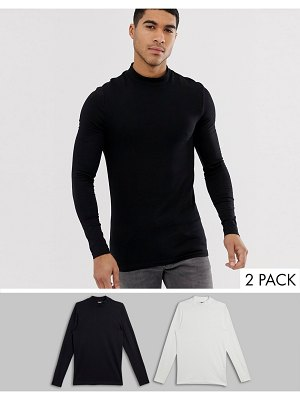 ASOS DESIGN organic muscle long sleeve t-shirt with turtleneck 2 pack save