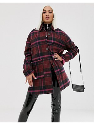 ASOS DESIGN oversized check jacket with quilted liner-multi