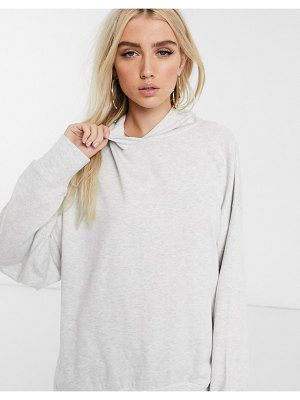 ASOS DESIGN oversized cocoon hoodie in ice marl-white