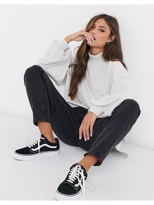 ASOS DESIGN oversized lightweight sweatshirt with high neck and seam detail in white marl