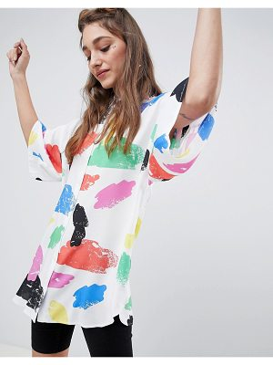 ASOS DESIGN oversized shirt in bright abstract print