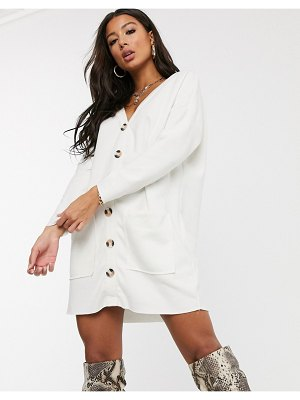 ASOS DESIGN oversized super soft button through dress in white
