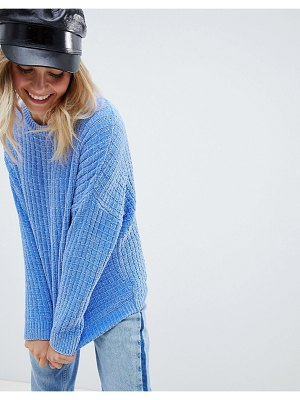 ASOS DESIGN oversized sweater in chenille-blue
