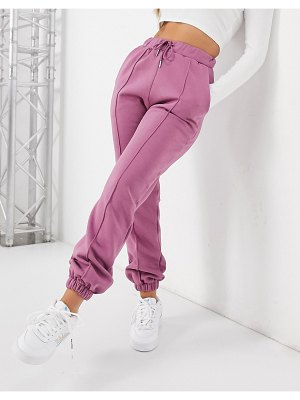 ASOS DESIGN oversized sweatpants with pintuck in berry-red