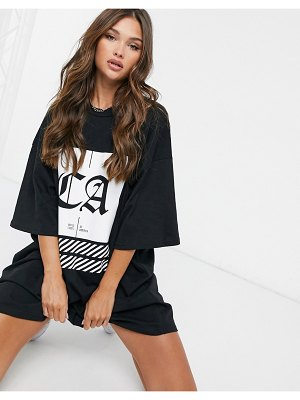 ASOS DESIGN oversized t-shirt dress with black and white ca graphic