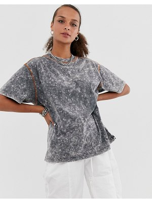 ASOS DESIGN oversized t-shirt in acid wash with contrast stitching-gray