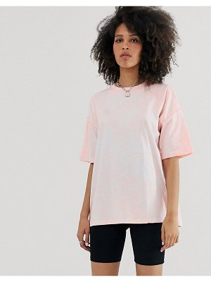 ASOS DESIGN oversized t-shirt in acid wash with contrast stitching-pink