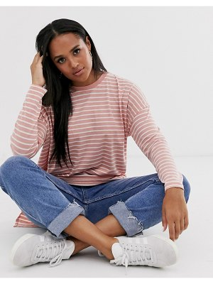 ASOS DESIGN oversized t-shirt in burnout stripe with long sleeve-multi
