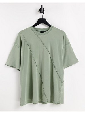 ASOS DESIGN oversized t-shirt with exposed seam detail in khaki-green