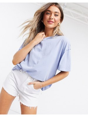 ASOS DESIGN oversized t-shirt with exposed seams in washed blue