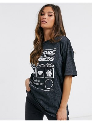 ASOS DESIGN oversized t-shirt with wellness print in washed charcoal-gray