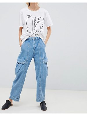 ASOS DESIGN Oversized Wide Leg Jeans In Light Blue With Utility Styling