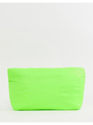 ASOS DESIGN padded clutch bag in neon