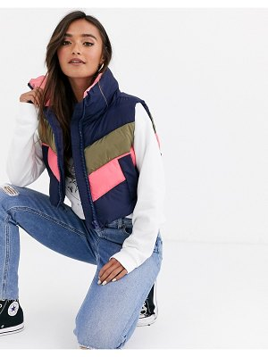 ASOS DESIGN padded color block vest jacket-multi