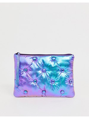 ASOS DESIGN padded quilted clutch in holographic