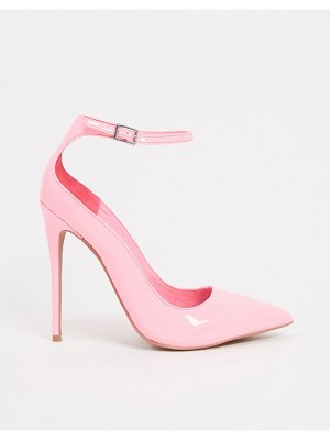 ASOS DESIGN participate stiletto court shoes in pink patent