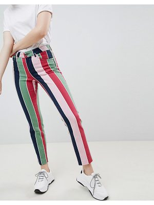 ASOS DESIGN pencil straight leg jeans with colored stripe print