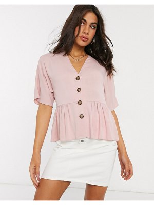 ASOS DESIGN peplum top with contrast buttons in pink
