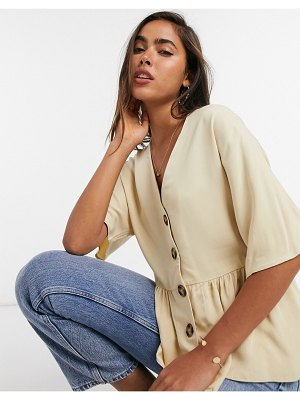 ASOS DESIGN peplum top with contrast buttons in stone