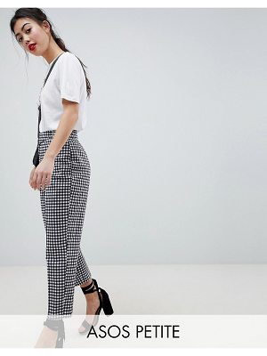 ASOS DESIGN Petite tailored gingham tapered PANTS with belt and buckle detail