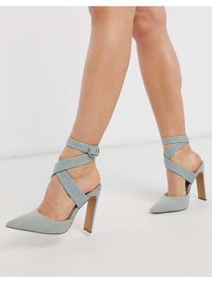 ASOS DESIGN pier set back heeled sandals in denim-blue