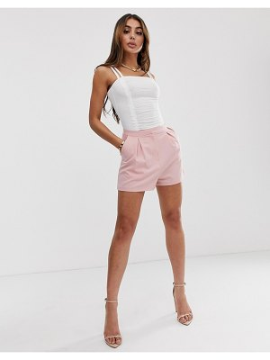 ASOS DESIGN tailored a-line shorts with pleat front-pink