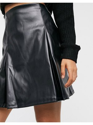 ASOS DESIGN pleat leather look mini skirt in black