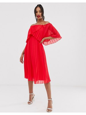 ASOS DESIGN pleated bandeau midi dress with double layer-red