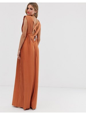 ASOS DESIGN pleated belted maxi dress with cut out detail-multi
