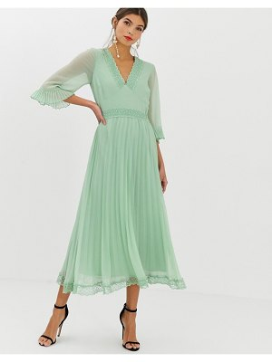 ASOS DESIGN pleated midi dress with lace inserts-green