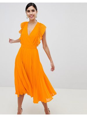 ASOS DESIGN Pleated Ruffle Midi Dress With Cut Outs