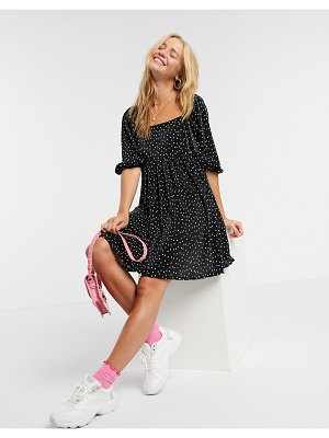 ASOS DESIGN plisse mini dress with square neck in polka dot-black