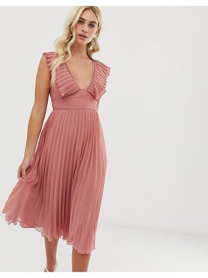 ASOS DESIGN plunge pleated midi dress with lace trim