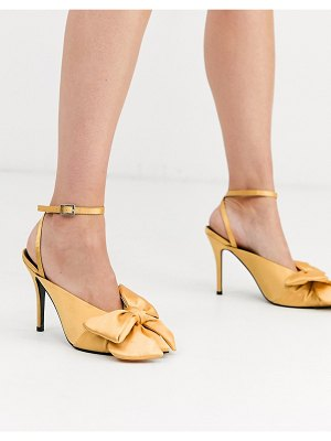 ASOS DESIGN poetry pointed high heel mules with bow in yellow satin