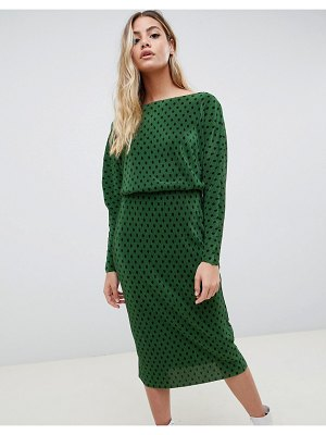 ASOS DESIGN polka dot slash neck batwing plisse midi dress