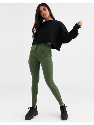 ASOS DESIGN ponte skinny pants with utility pockets-green