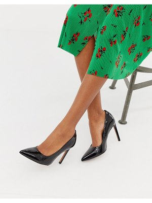 ASOS DESIGN porto pointed high heeled pumps in black patent