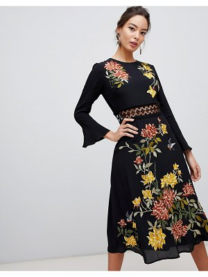 ASOS DESIGN embroidered midi dress with lace inserts and floral embroidery-black