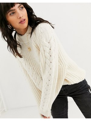 ASOS DESIGN premium oversized cable sweater-cream
