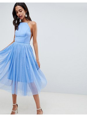 ASOS DESIGN premium scuba pinny midi tulle dress